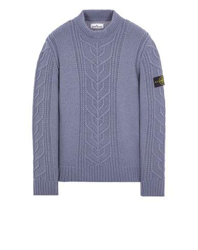 STONE ISLAND 569D4 LAMBSWOOL WITH ARAN MOTIF Sweater Man Pastel Blue EUR 399