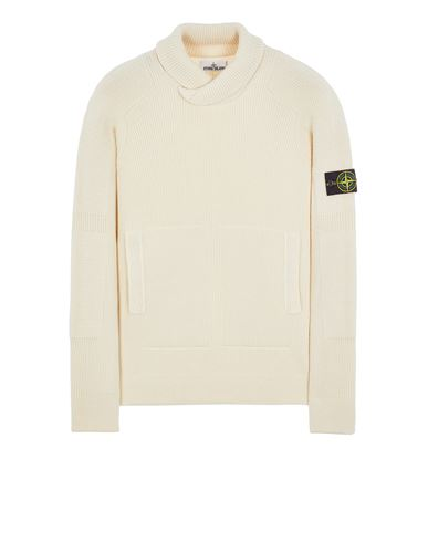 STONE ISLAND 551A7 COMFORT WOOL COTTON Sweater Man Natural White EUR 399