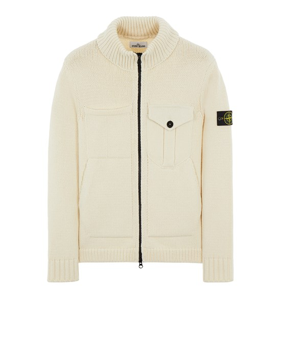 STONE ISLAND 548A4 LAMBSWOOL Sweater Man Natural White