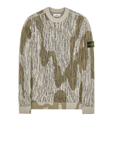 STONE ISLAND 575D5 'RAIN CAMO' MIXED YARN Sweater Man Ecru EUR 399