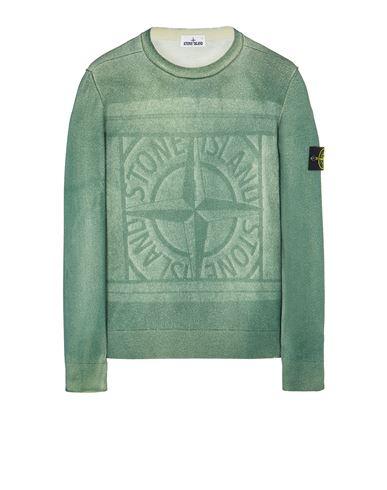 STONE ISLAND 570A8 PURE WOOL_FAST DYE + HAND MADE AIRBRUSH + LASER PRINT: REVERSIBLE Sweater Man Sage Green EUR 395