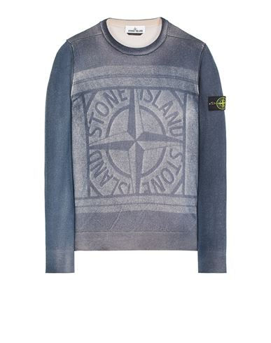 STONE ISLAND 570A8 PURE WOOL_FAST DYE + HAND MADE AIRBRUSH + LASER PRINT: REVERSIBLE Sweater Man Blue EUR 395
