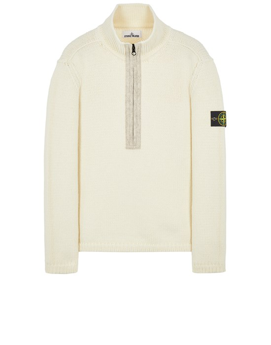 Tricot Homme 534A6 LAMBSWOOL WITH FABRIC DETAILS Front STONE ISLAND
