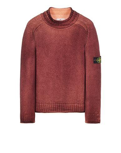 STONE ISLAND 561A8 PURE WOOL_FAST DYE + HAND MADE AIRBRUSH Sweater Man Maroon EUR 395