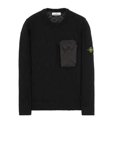 STONE ISLAND 532D3 COTTON WOOL MÉLANGE + FABRIC POCKET Sweater Man Black EUR 319