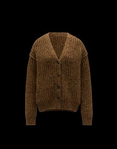 拼饰针织开衫 棕色 针织衫 女士