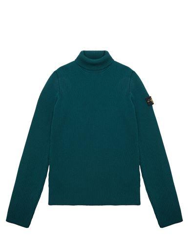 STONE ISLAND TEEN 514A3 Sweater Man Dark Teal Green EUR 228