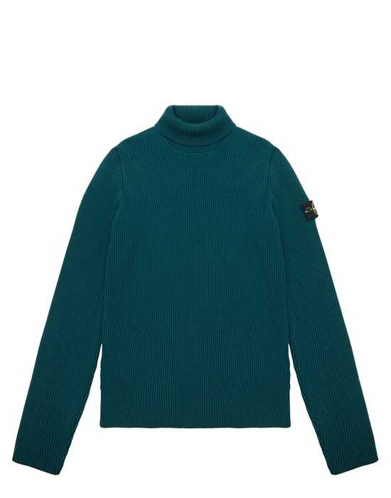 STONE ISLAND JUNIOR 514A3 Sweater Man Dark Teal Green