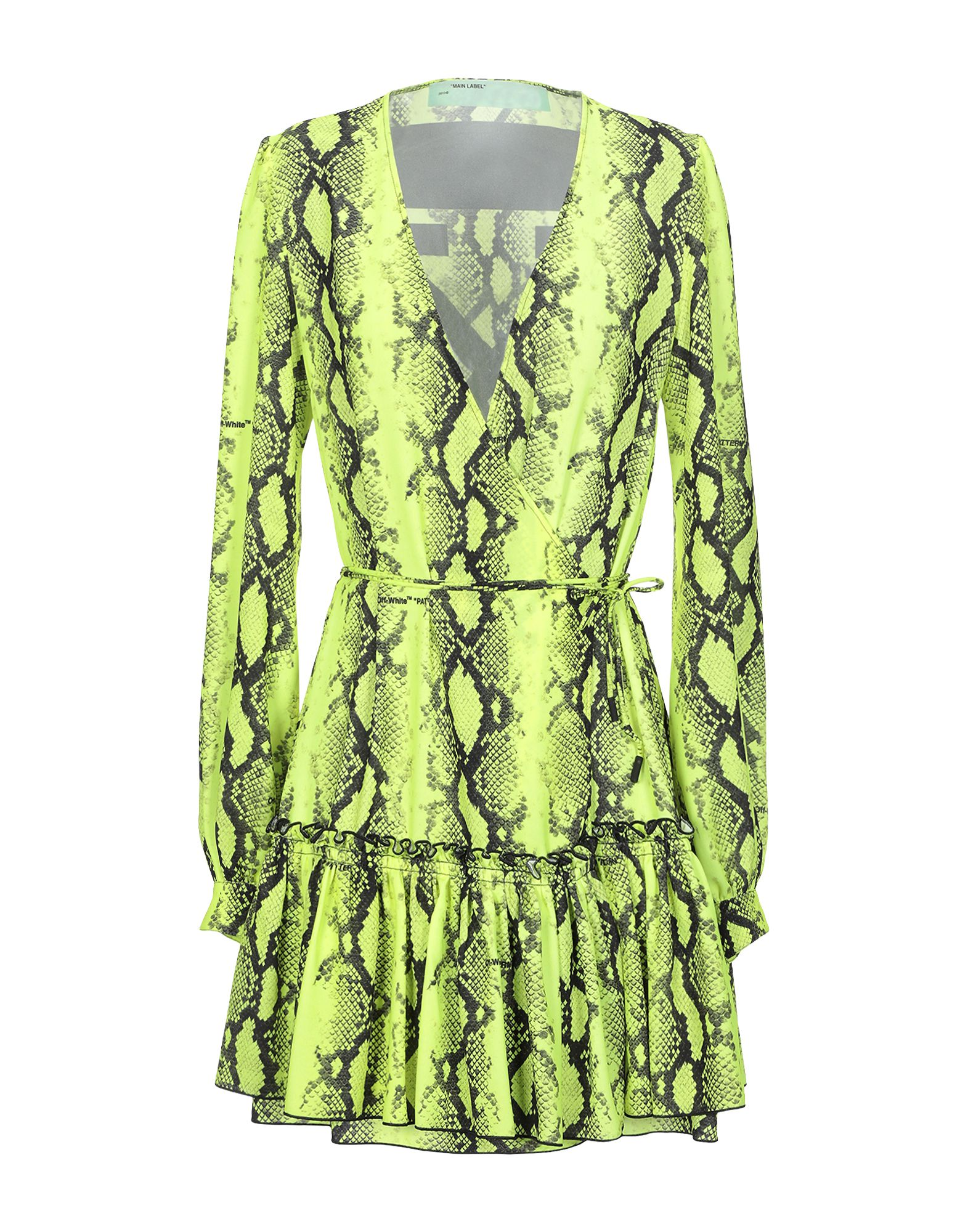 OFF-WHITE™ Short dresses. crepe, belt, animal print, v-neck, long sleeves, no pockets, front slit, front closure, self-tie wrap closure, unlined. 100% Polyester