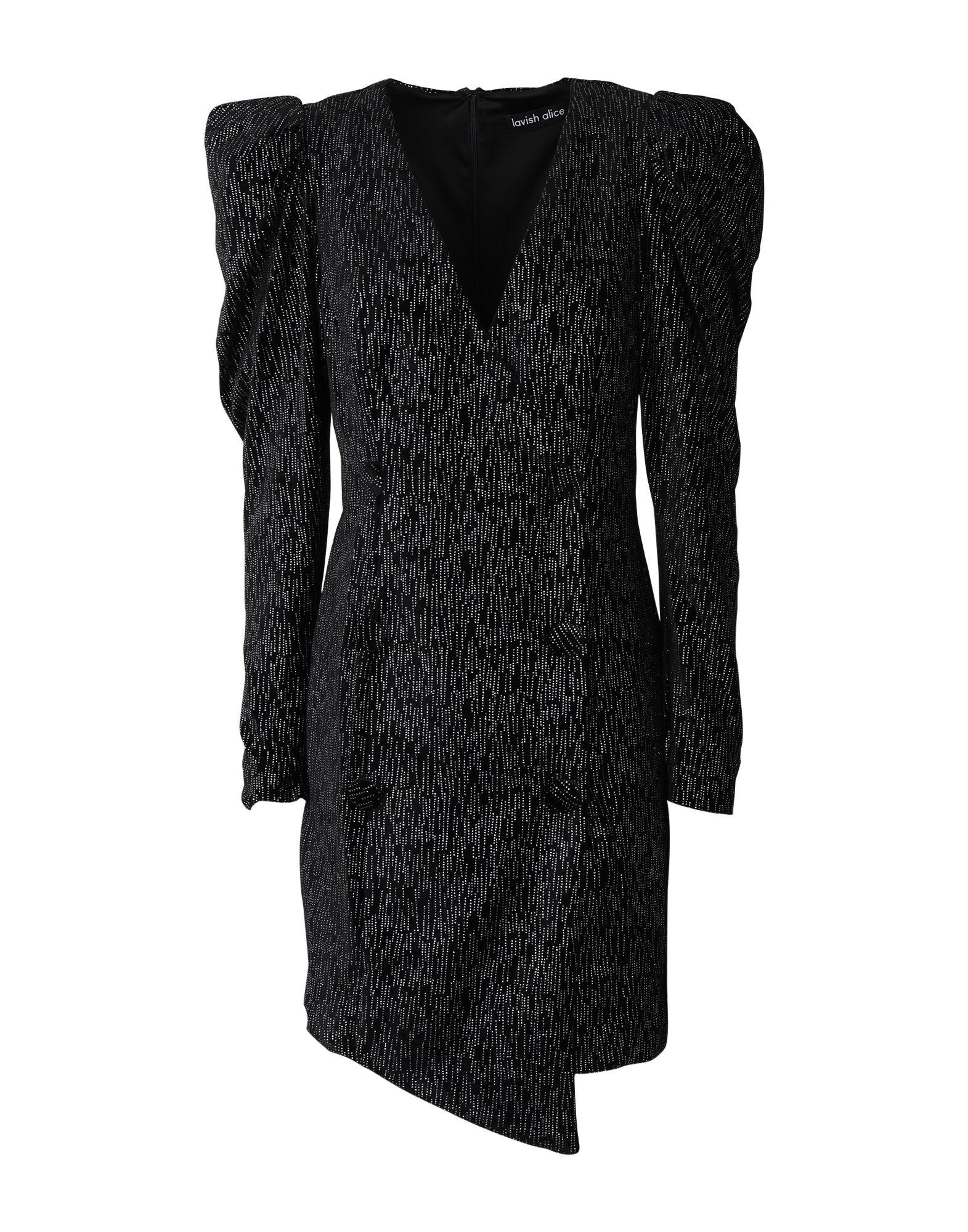 《セール開催中》LAVISH ALICE レディース ミニワンピース&ドレス ブラック 10 ポリエステル 95% / ポリウレタン 5% STATEMENT SHOULDER MINI DRESS IN DIAMANTE VELVET