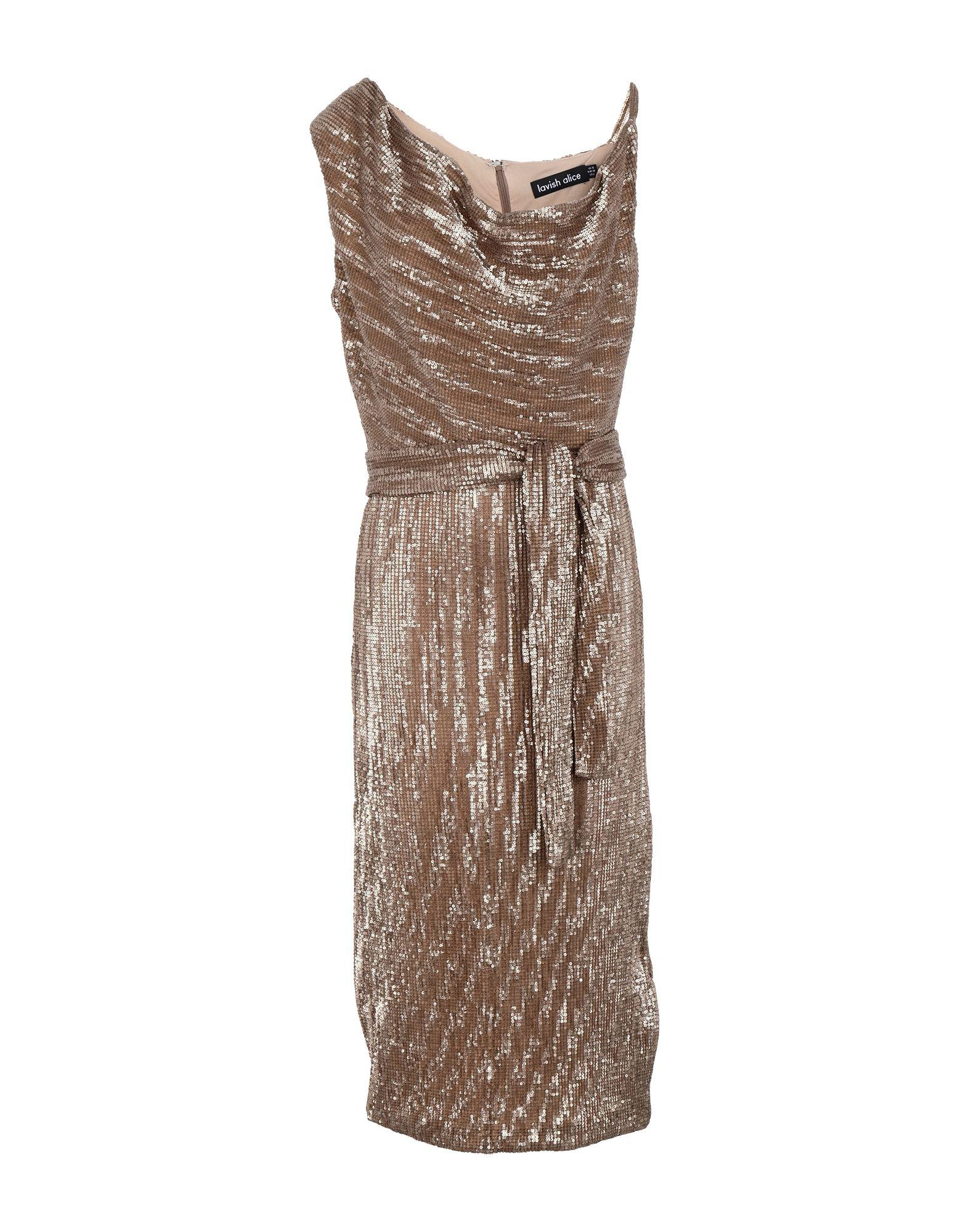《セール開催中》LAVISH ALICE レディース ひざ丈ワンピース サンド 10 ポリエステル 100% PLEATED SEQUIN COWL NECK MIDI DRESS