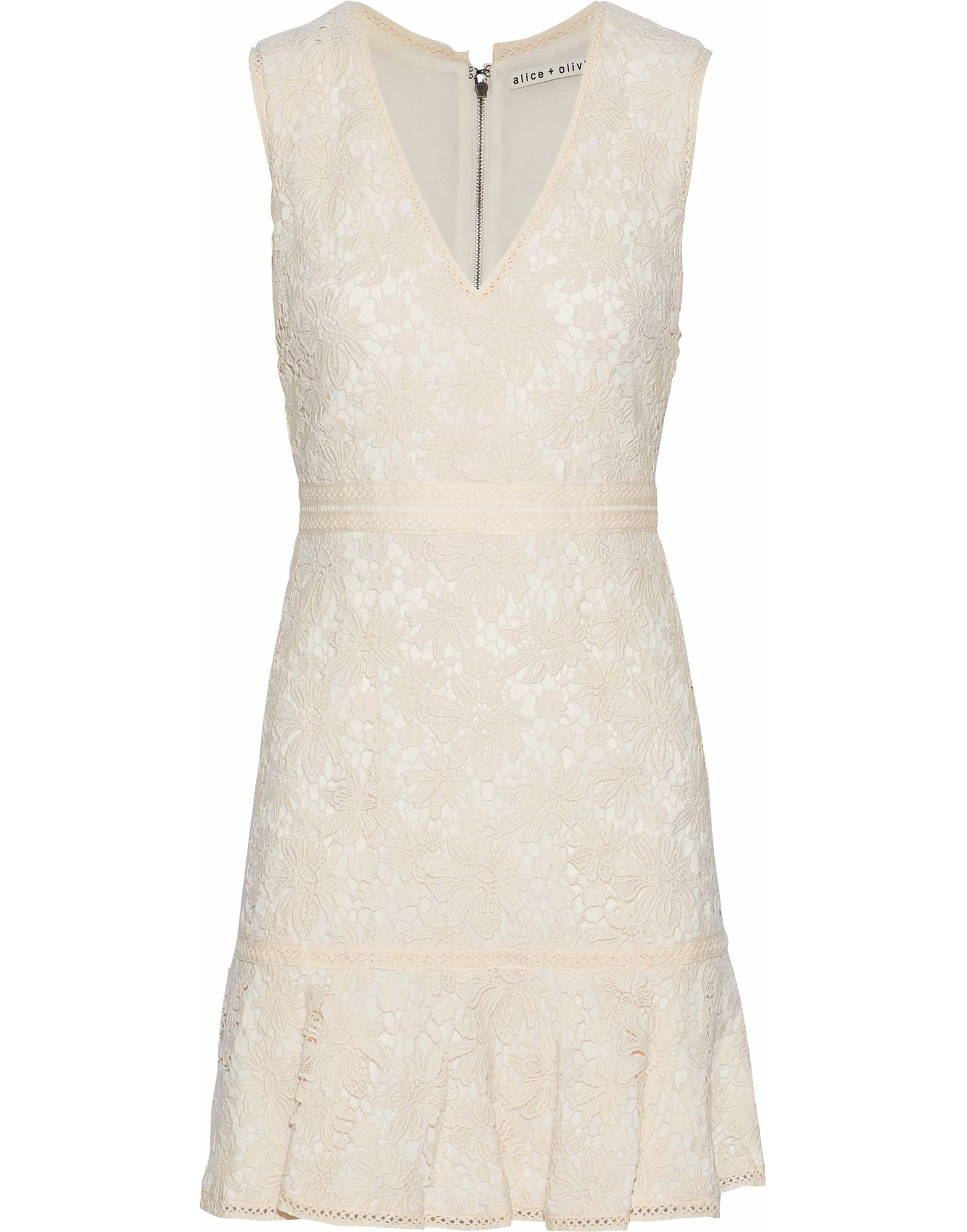 ALICE + OLIVIA Short dresses. lace, no appliqués, solid color, v-neck, sleeveless, no pockets, rear closure, zip, fully lined. 100% Cotton