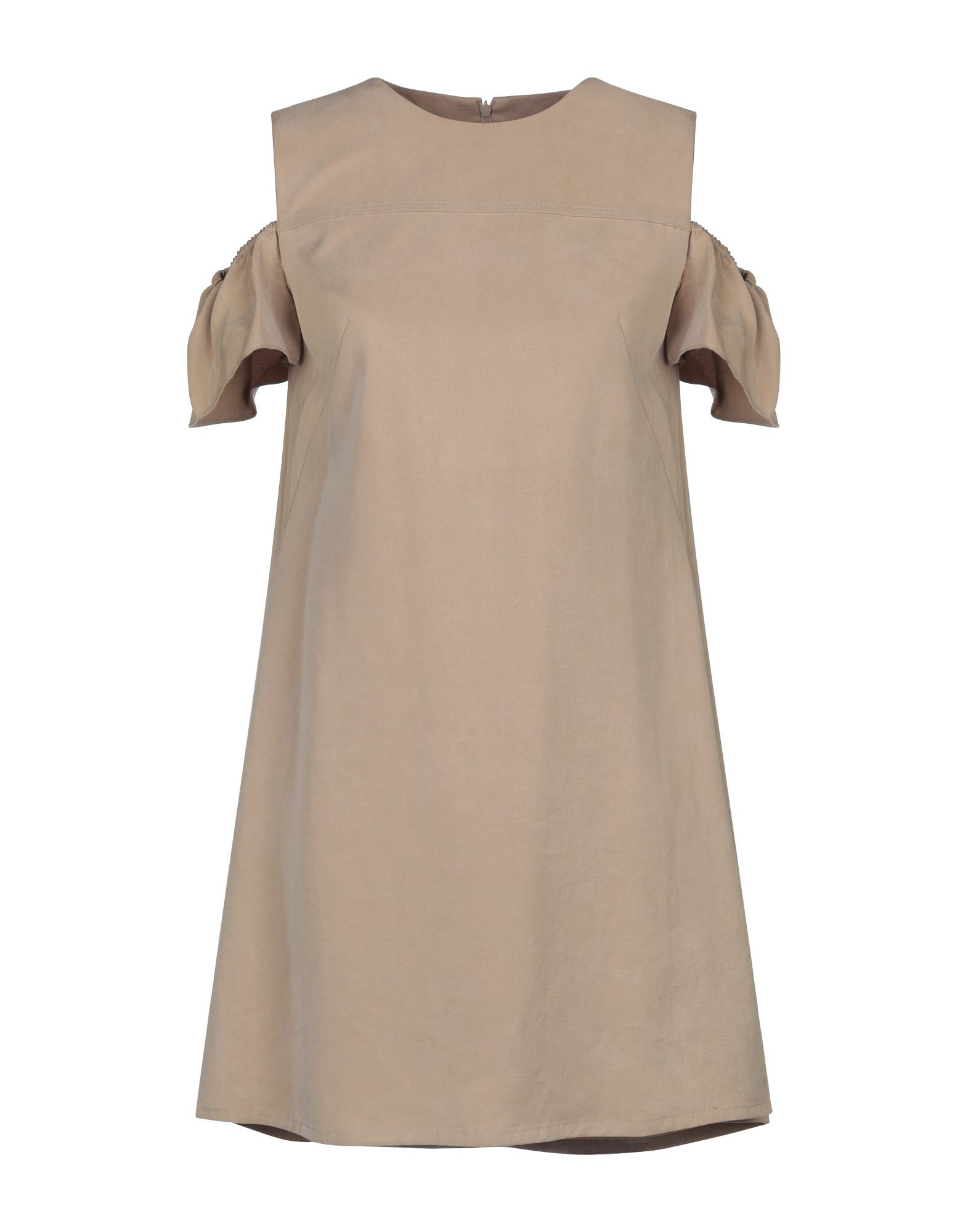 AKRIS PUNTO Short dresses. twill, no appliqués, basic solid color, round collar, short sleeves, multipockets, dual side vents, rear closure, zip, fully lined. 100% Lyocell
