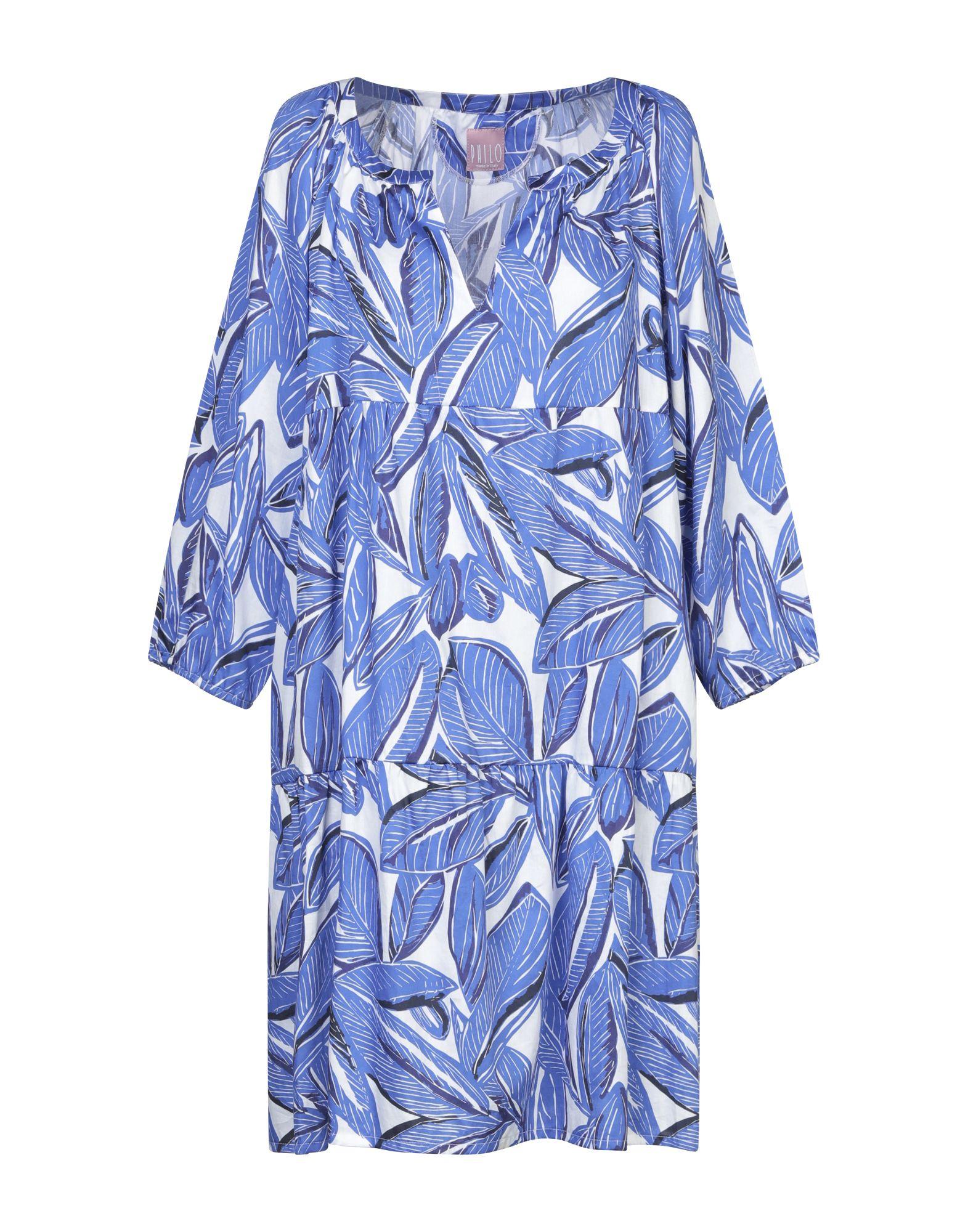 《セール開催中》PHILO by MANGOLINI CONFEZIONI レディース ミニワンピース&ドレス ブルー 42 コットン 100%