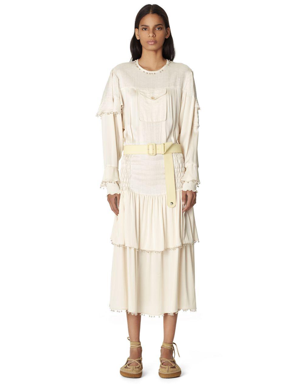 LONG SILK AND LINEN DRESS WITH BELLS - Lanvin