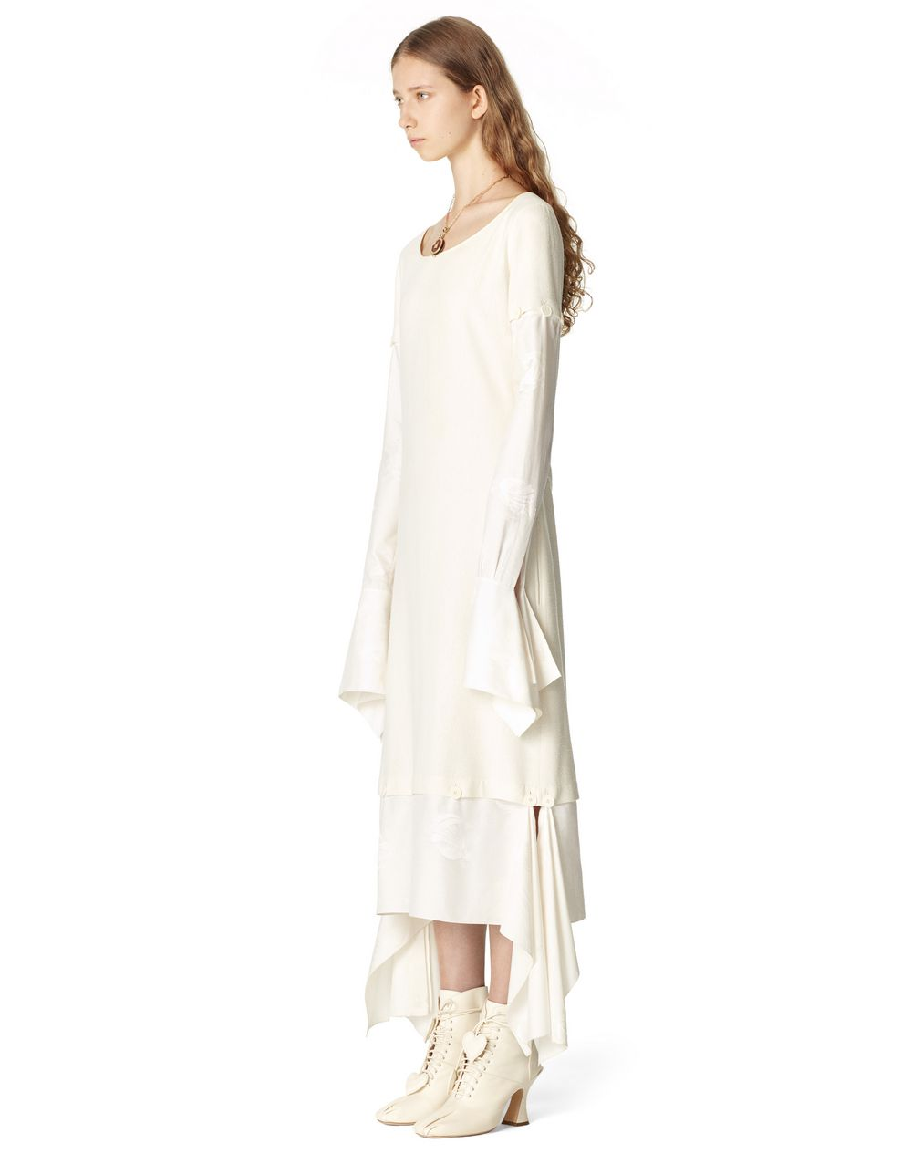LONG MOTHER AND CHILD LOGO DRESS IN SILK - Lanvin