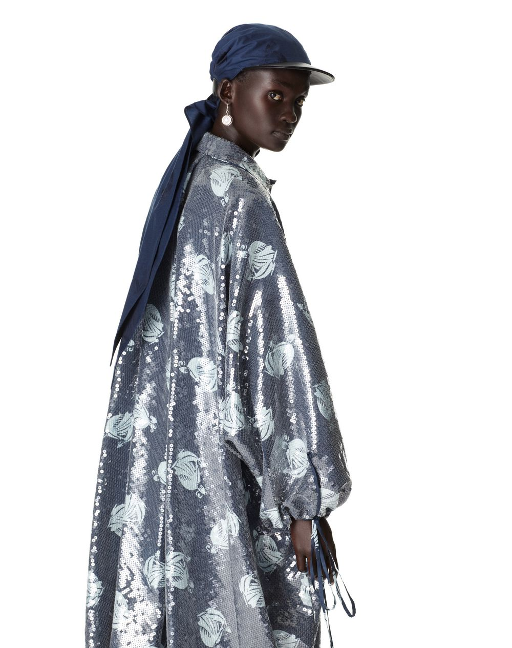LONG MOTHER AND CHILD LOGO OVERSIZE SHIRT DRESS WITH SEQUINS - Lanvin