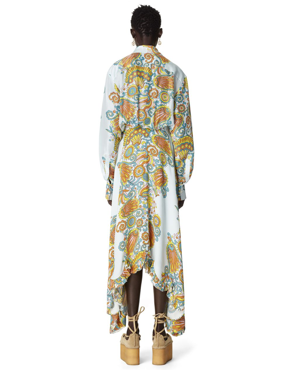 LONG FLOWER SWIRL PRINT SILK DRESS - Lanvin
