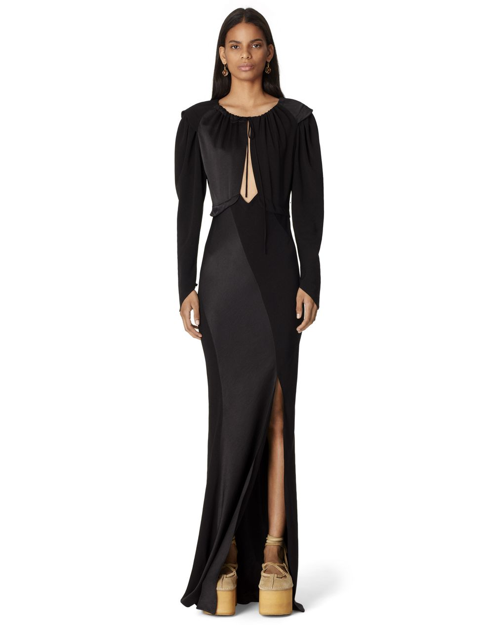 BI-MATERIAL SLIT HEART DRESS - Lanvin