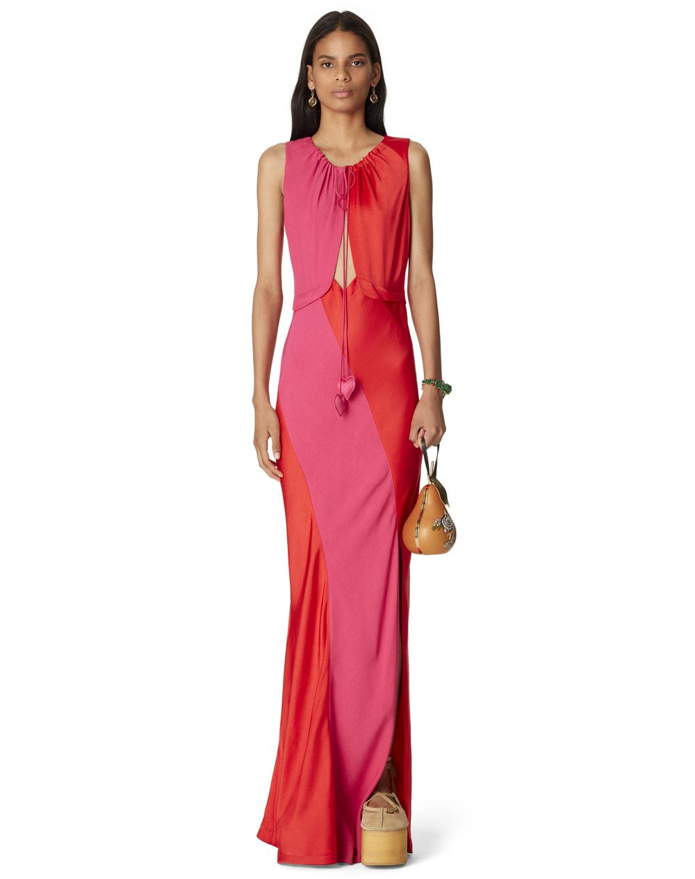 LONG TWO-TONED SLIT HEART DRESS - Lanvin