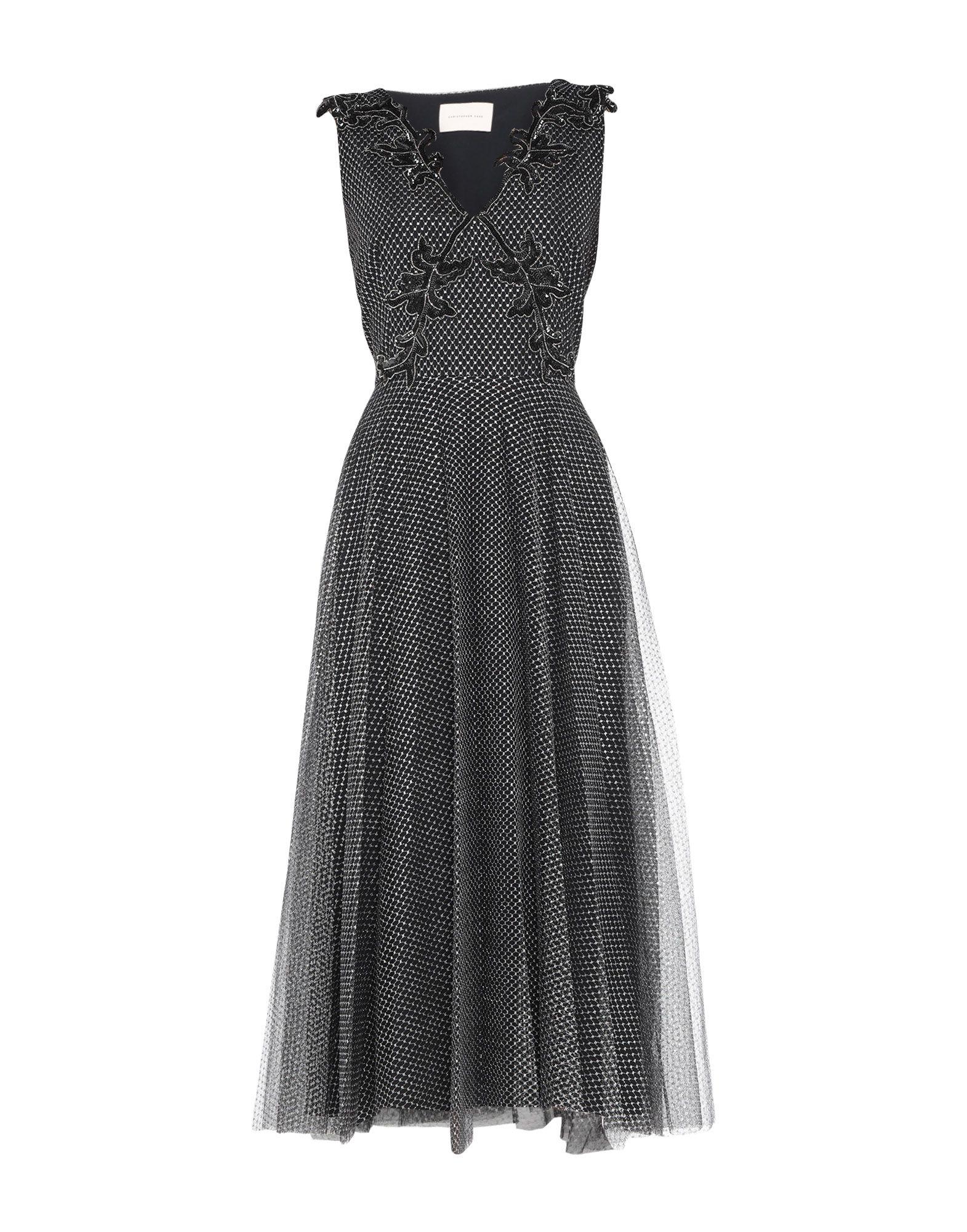《セール開催中》CHRISTOPHER KANE レディース ロングワンピース&ドレス ブラック 38 ナイロン 75% / 金属繊維 25% / アクリル / シルク / ガラス