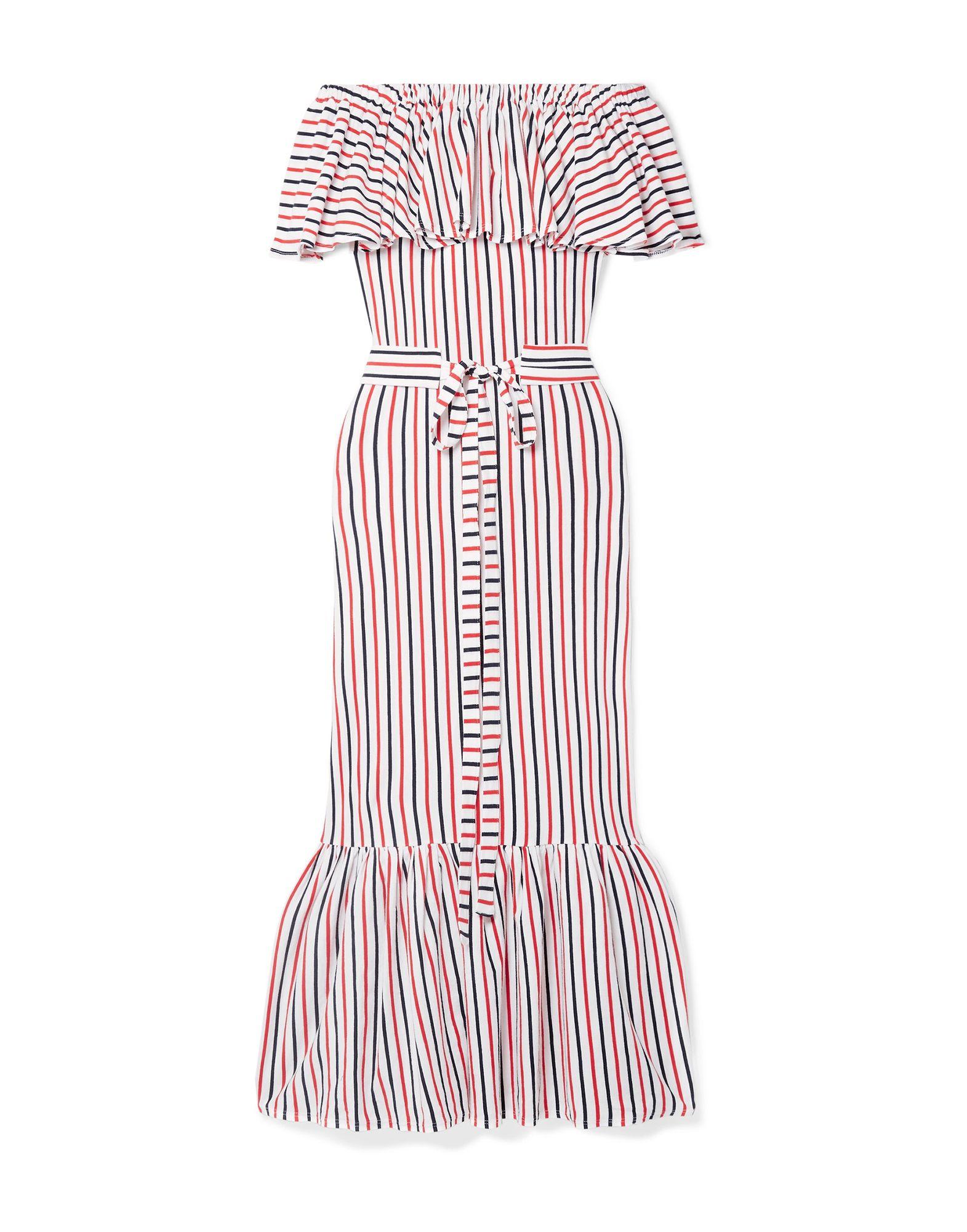 《セール開催中》MDS STRIPES レディース 7分丈ワンピース・ドレス レッド 2 コットン 100%