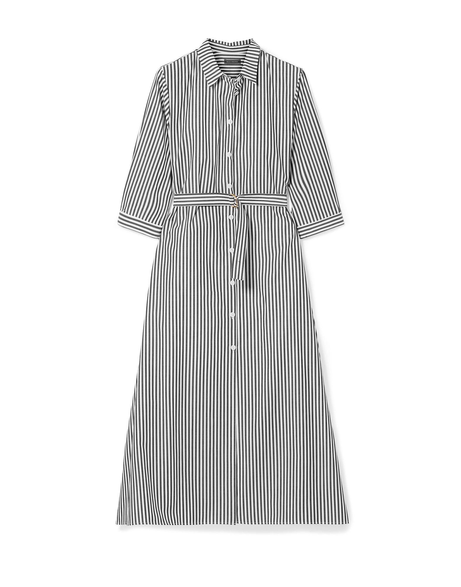 《セール開催中》MDS STRIPES レディース 7分丈ワンピース・ドレス ブラック 4 コットン 100%