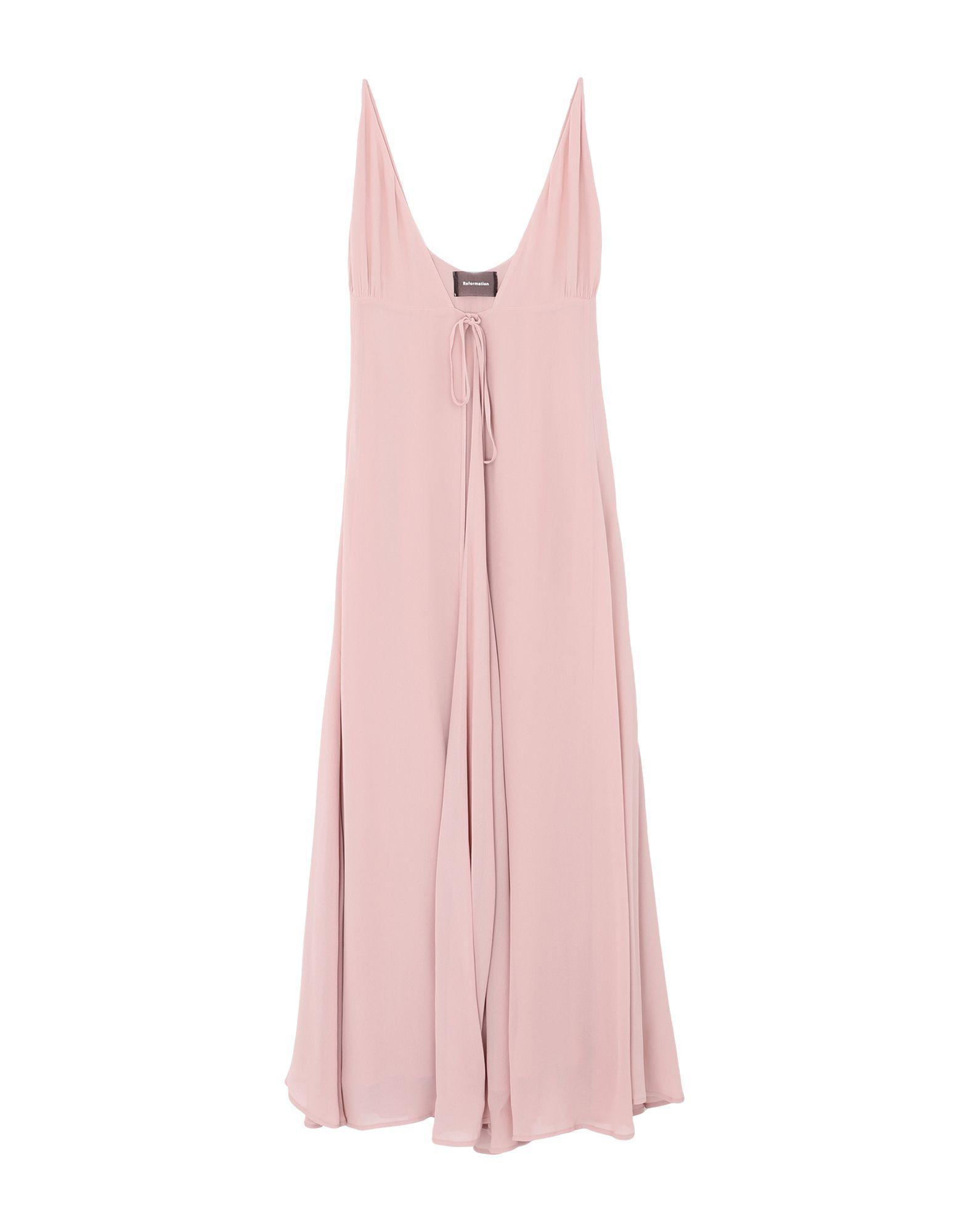 REFORMATION Long dresses. crepe, no appliqués, basic solid color, deep neckline, sleeveless, self-tie wrap closure, fully lined. 100% Viscose