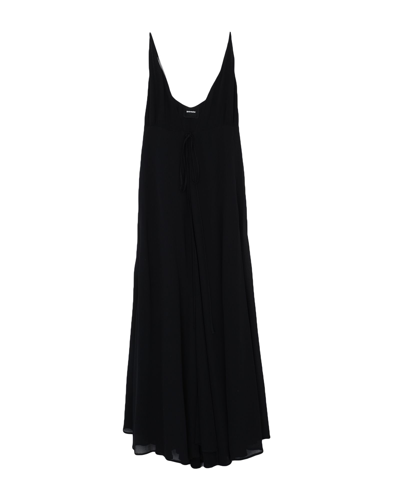 REFORMATION Long dresses. crepe, no appliqués, basic solid color, deep neckline, sleeveless, self-tie wrap closure, fully lined. 100% Viscose