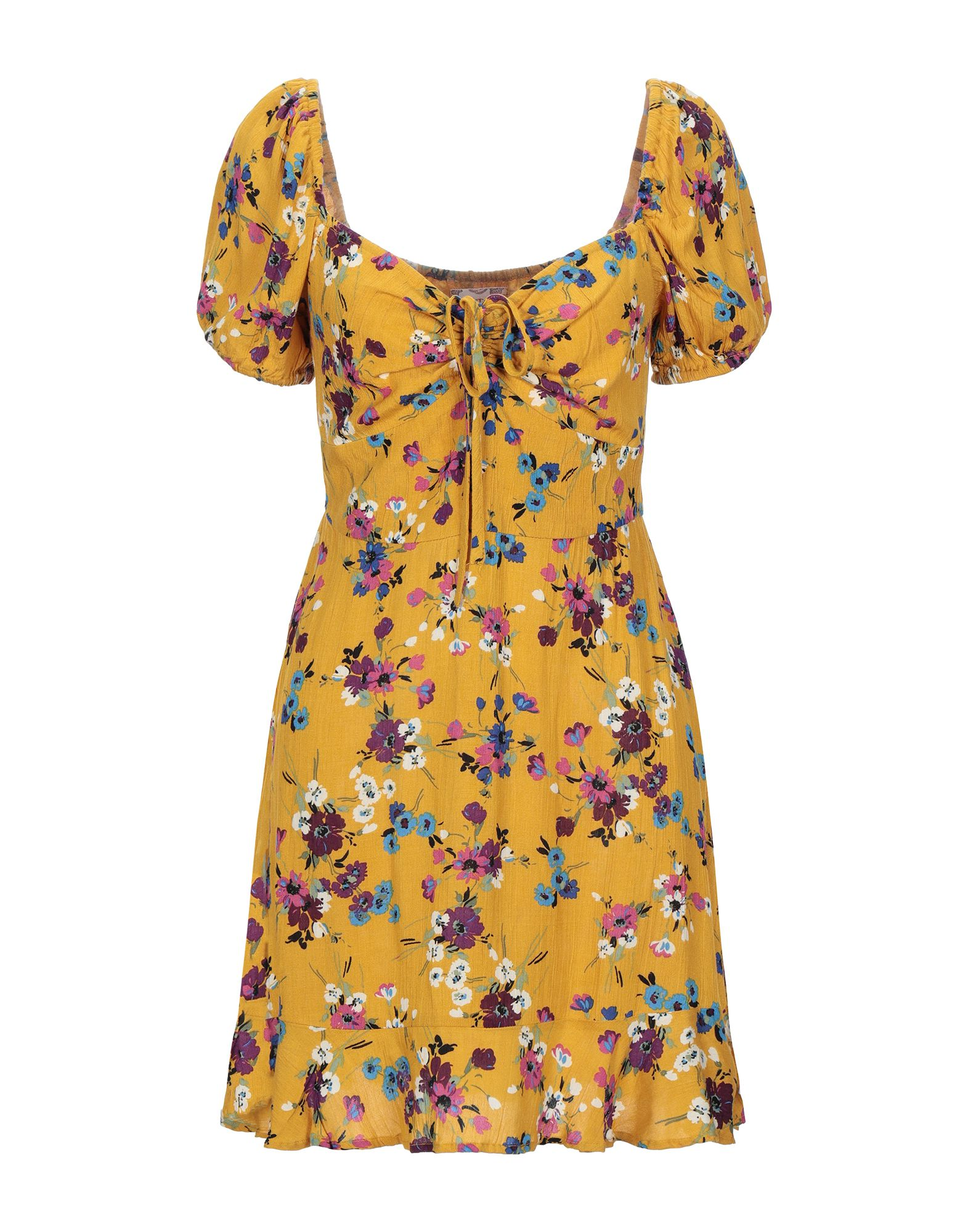 BAND OF GYPSIES Short dresses. plain weave, laces, floral design, square neckline, short sleeves, no pockets, unlined. 100% Viscose