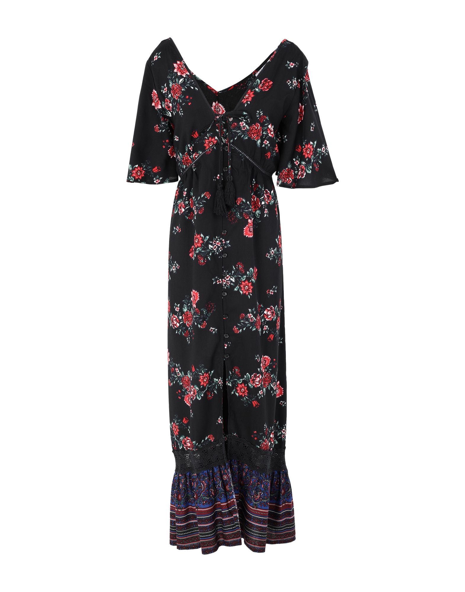 BAND OF GYPSIES Long dresses. plain weave, laces, tassels, floral design, deep neckline, short sleeves, no pockets, front closure, button closing, unlined. 100% Viscose