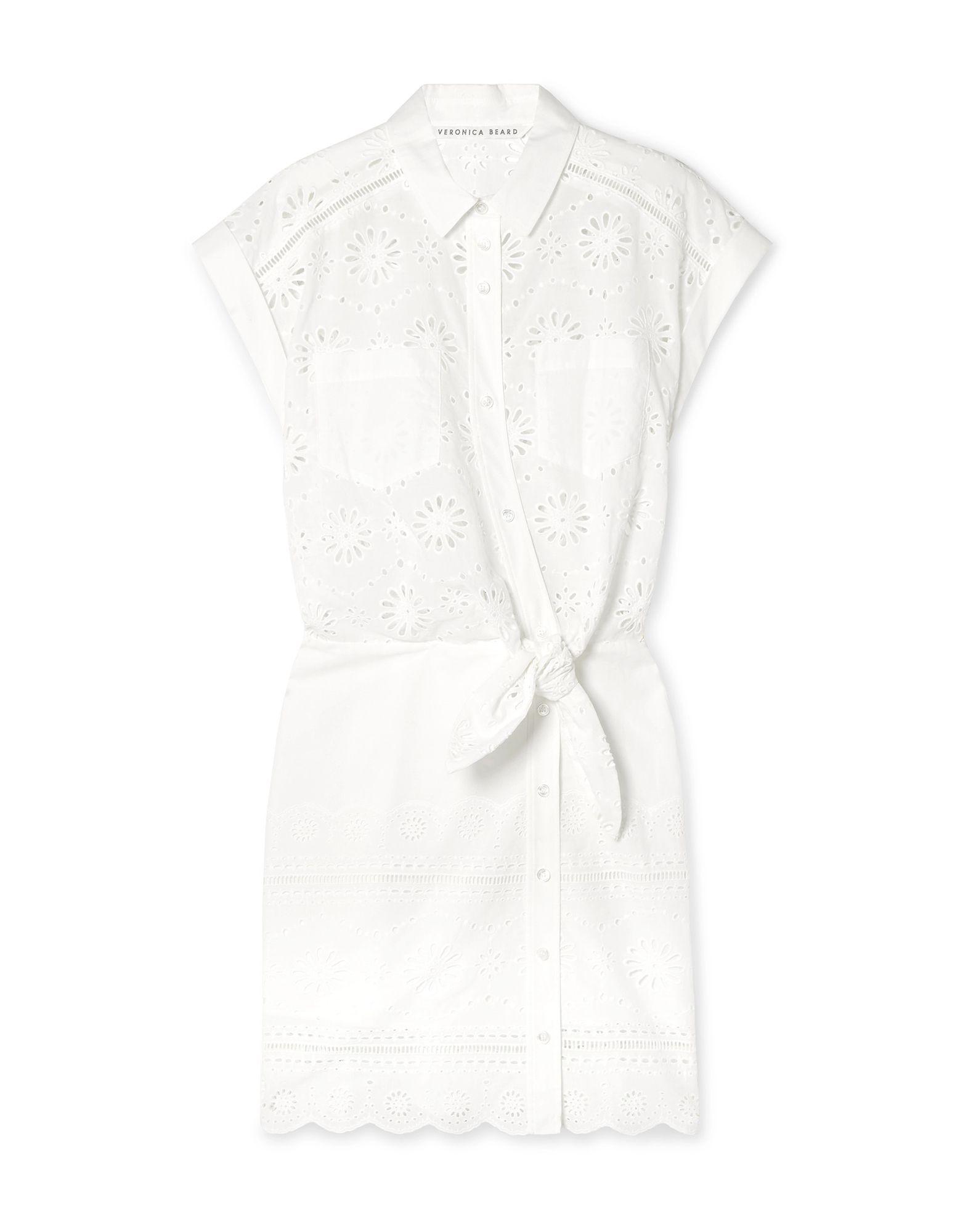 VERONICA BEARD Short dresses. lace, no appliqués, solid color, classic neckline, short sleeves, multipockets, front closure, button closing, unlined. 100% Cotton