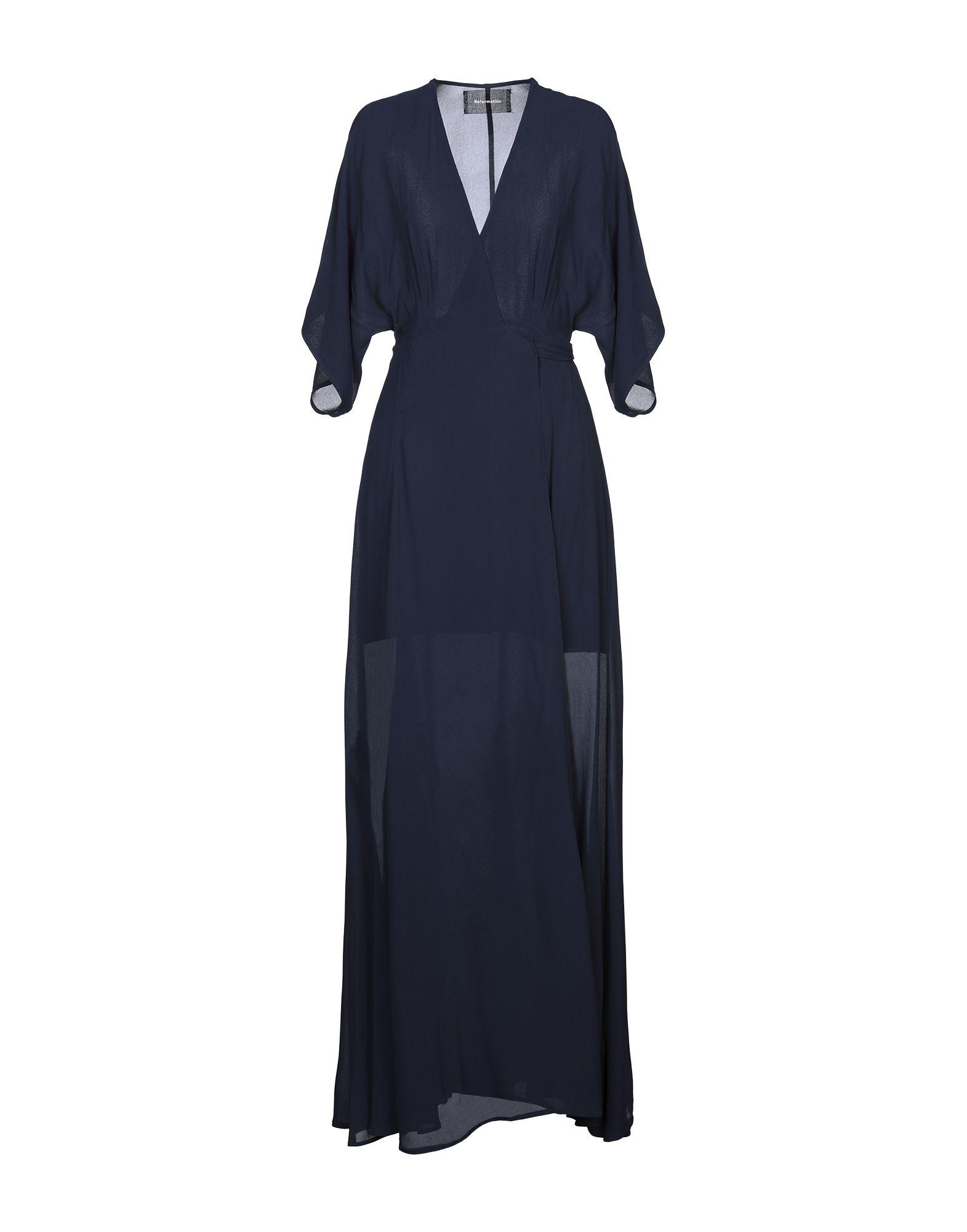 REFORMATION Long dresses. crepe, no appliqués, basic solid color, deep neckline, short sleeves, no pockets, self-tie wrap closure, unlined. 100% Viscose