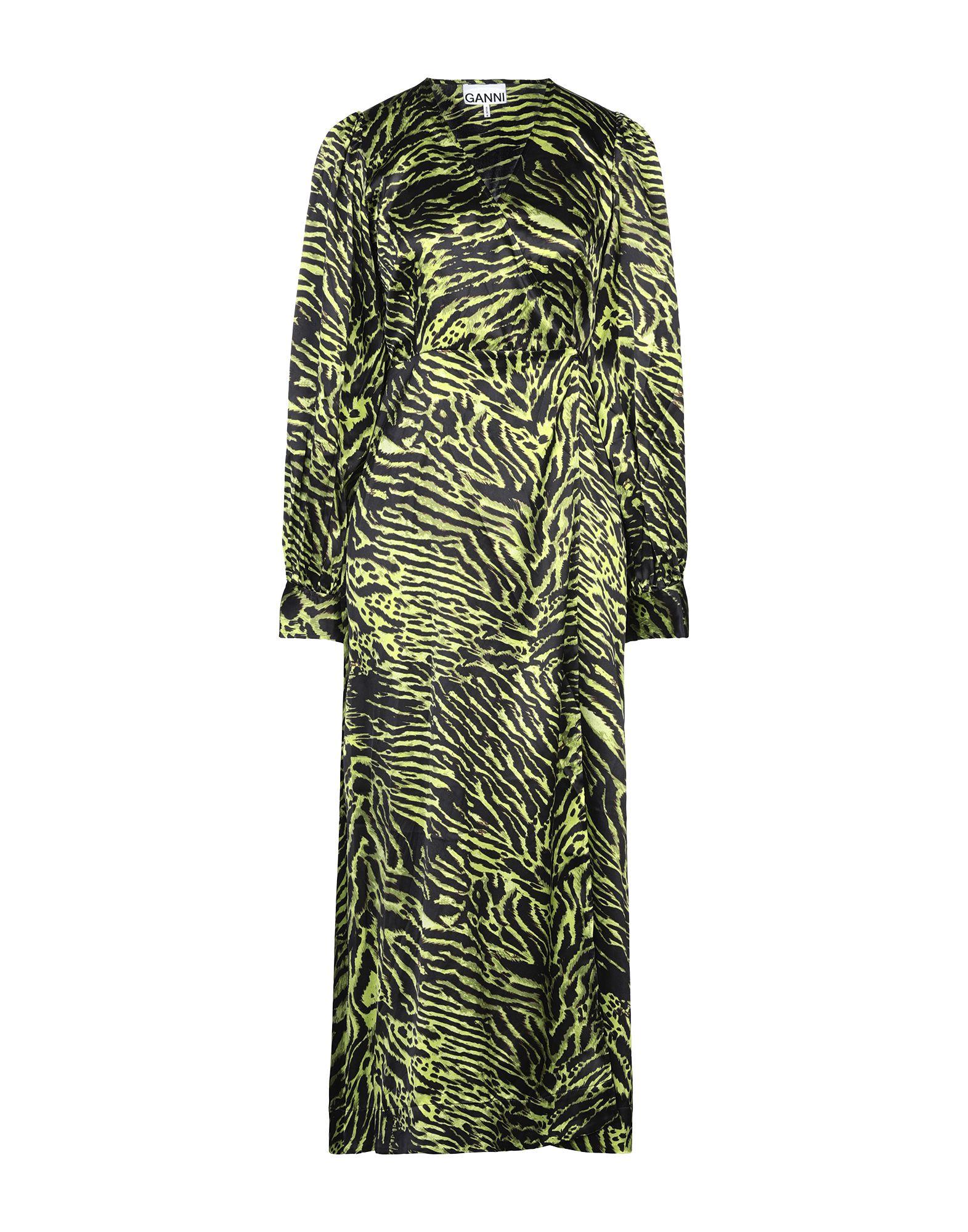 GANNI Long dresses. satin, no appliqués, tiger stripes, deep neckline, long sleeves, no pockets, front closure, self-tie wrap closure, unlined, stretch. 92% Silk, 8% Elastane