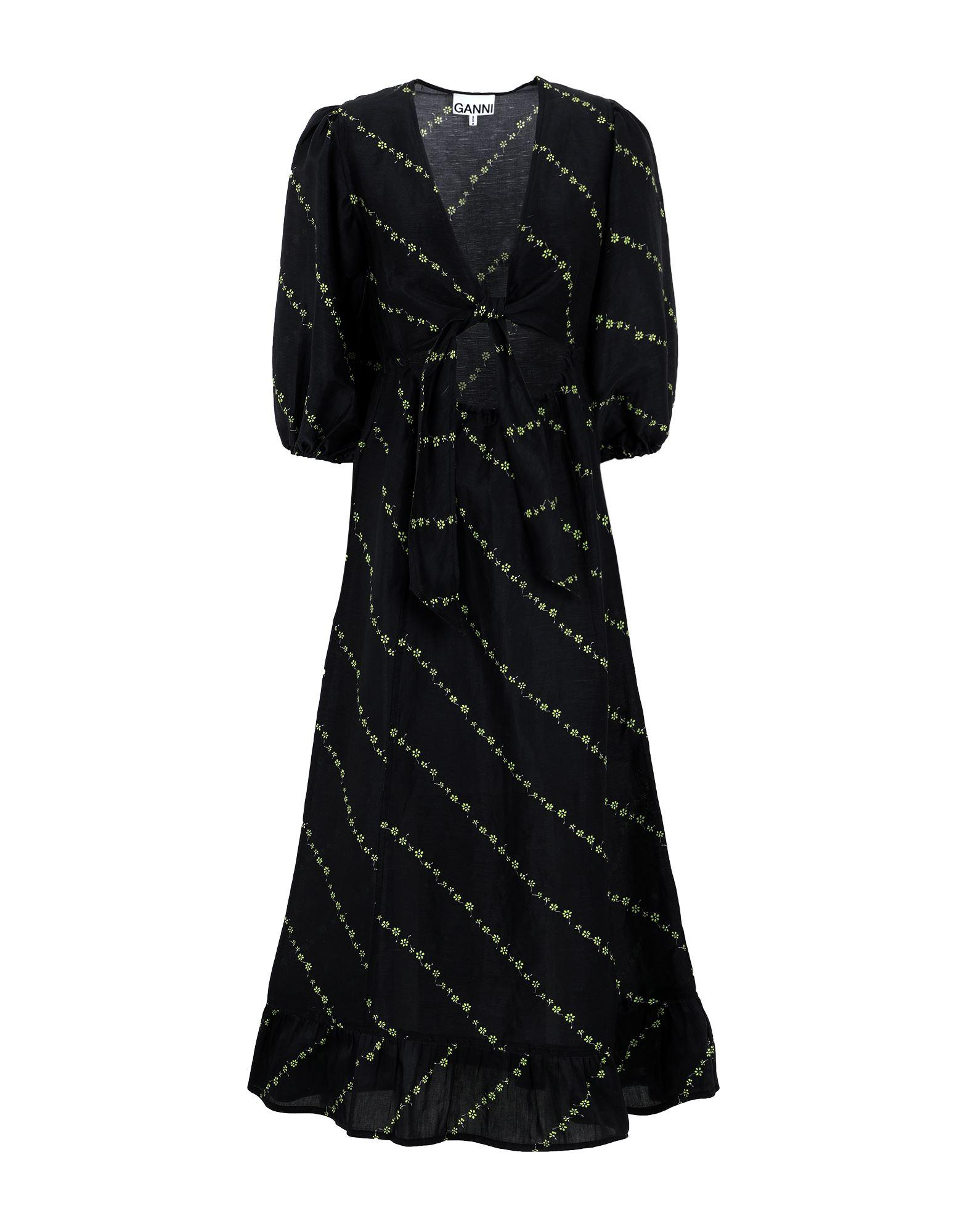 GANNI Long dresses. plain weave, no appliqués, floral design, deep neckline, short sleeves, no pockets, side closure, zip, unlined. 85% Linen, 15% Silk