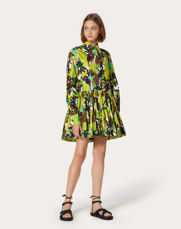 Short Printed Poplin Dress