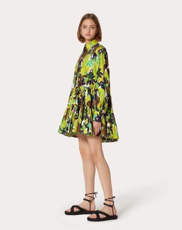 Kurzes Kleid aus Popeline mit Print