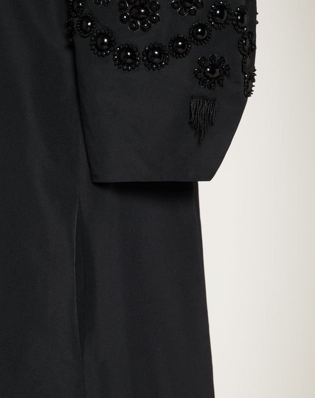 Short Embroidered Micro-Faille Dress