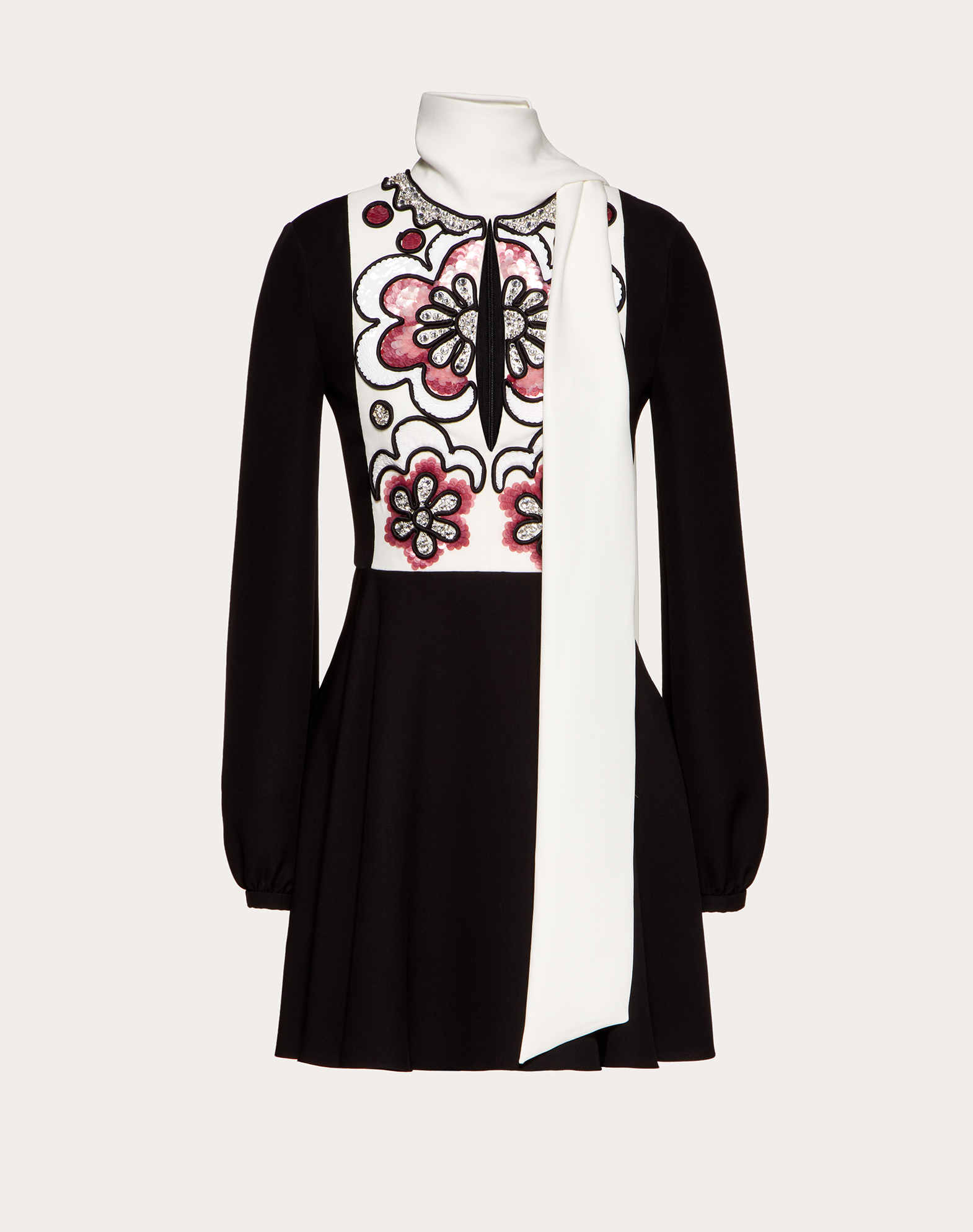 Short Embroidered Cady Couture Dress