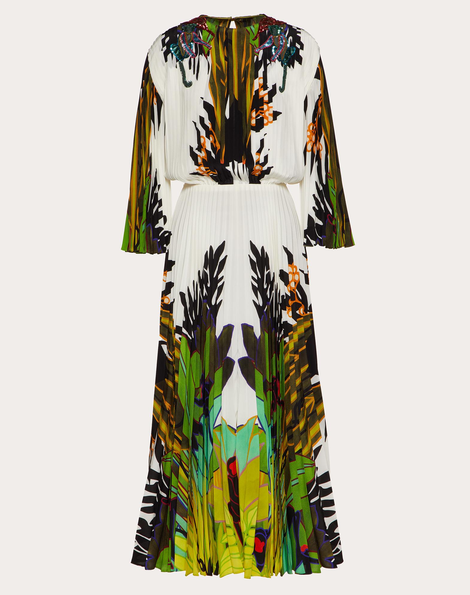 Printed Crepe de Chine Dress