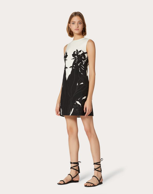 Short Printed Crepe Couture Dress