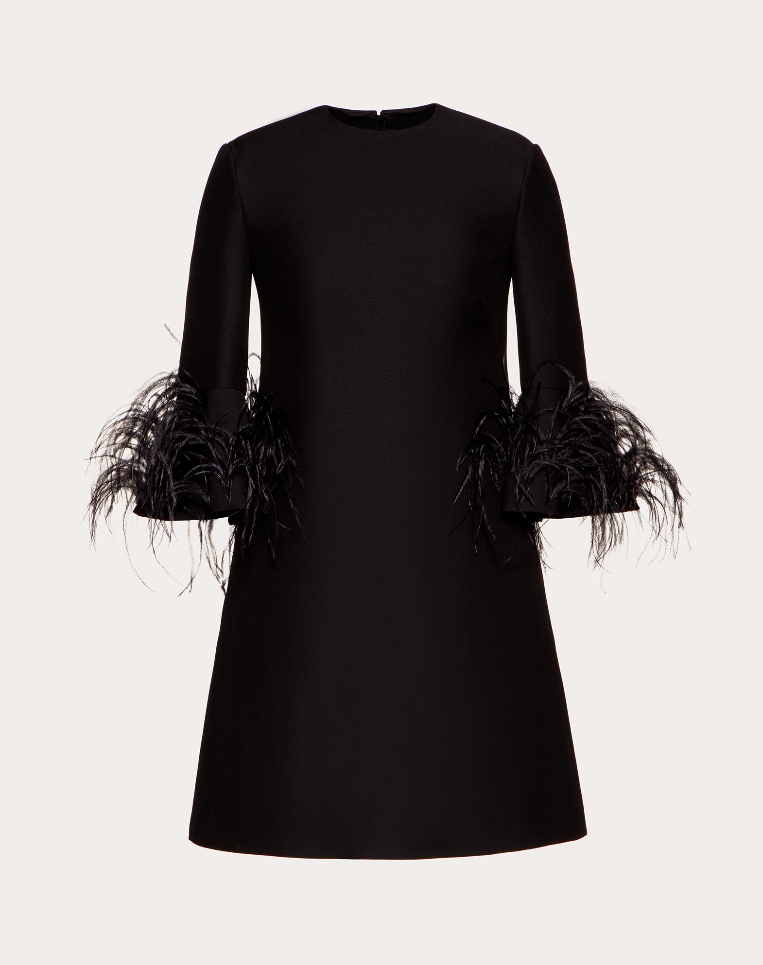 Короткое платье из Crepe Couture с вышивкой