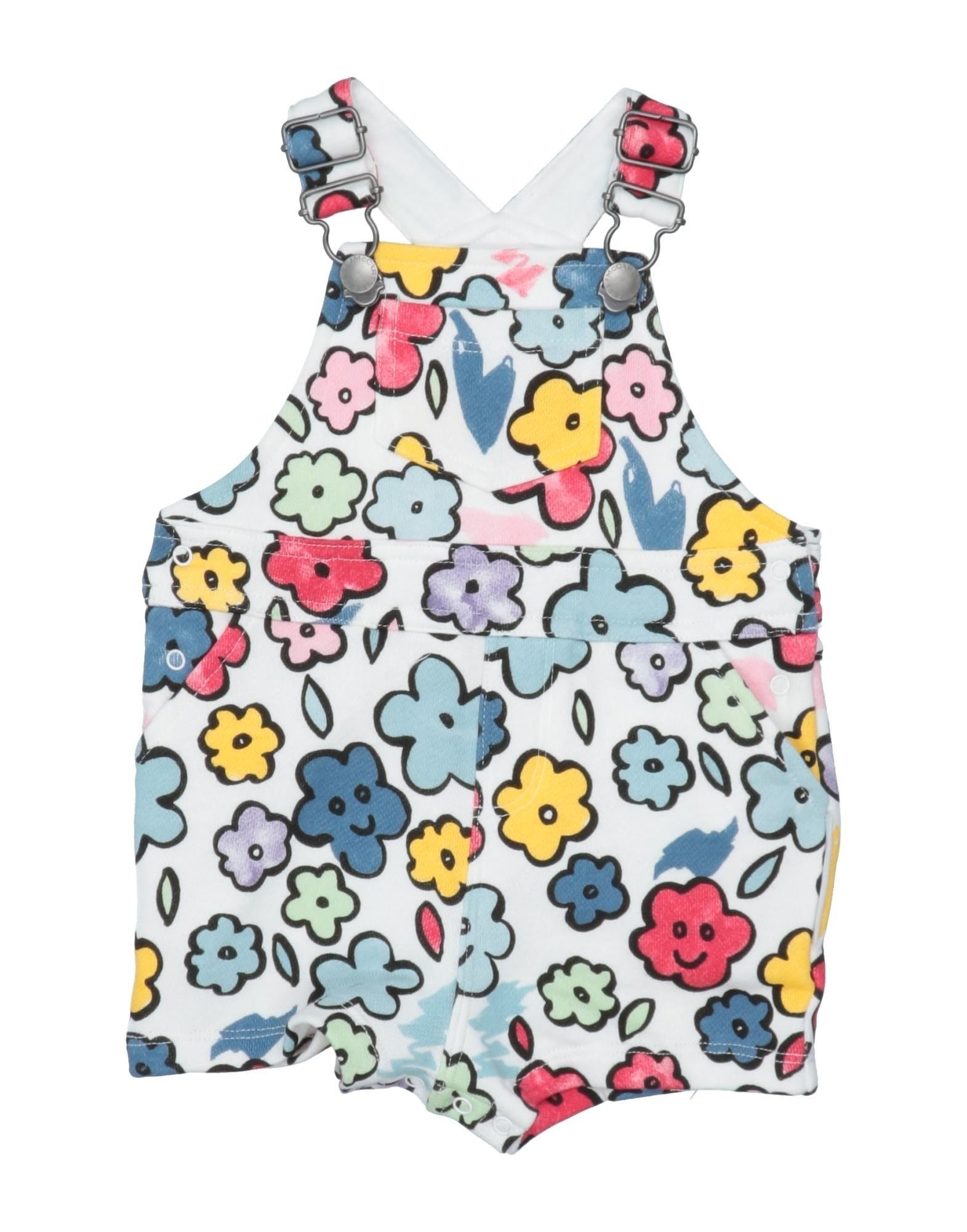 STELLA McCARTNEY KIDS Baby overalls. sweatshirt fleece, logo, floral design, overalls top, sleeveless, french terry lining, wash at 30degree c, do not dry clean, iron at 150degree c max, do not bleach, do not tumble dry. 100% Cotton