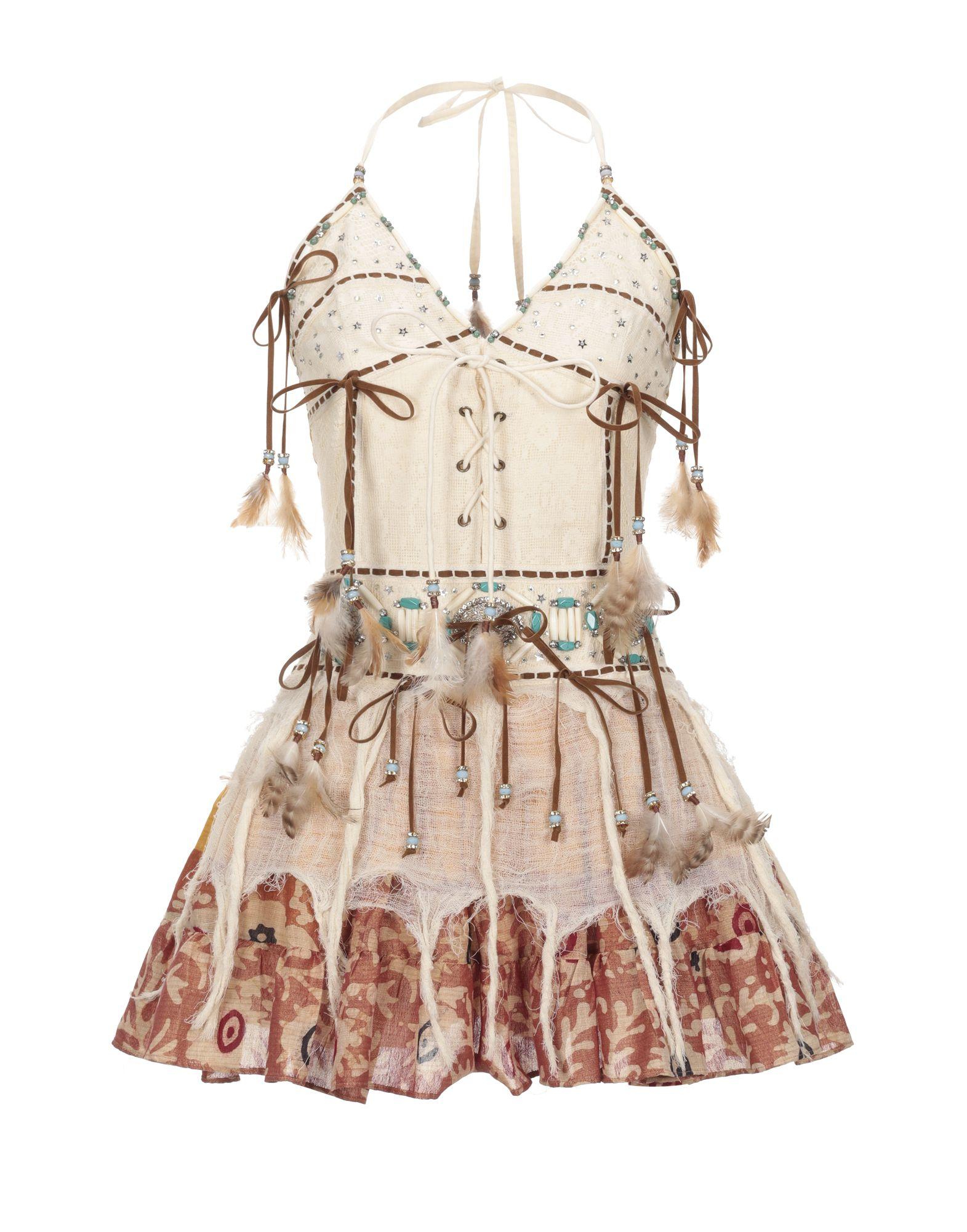 《セール開催中》LAS NOCHES IBIZA by ERIC & JACK レディース ミニワンピース&ドレス アイボリー S コットン 100%