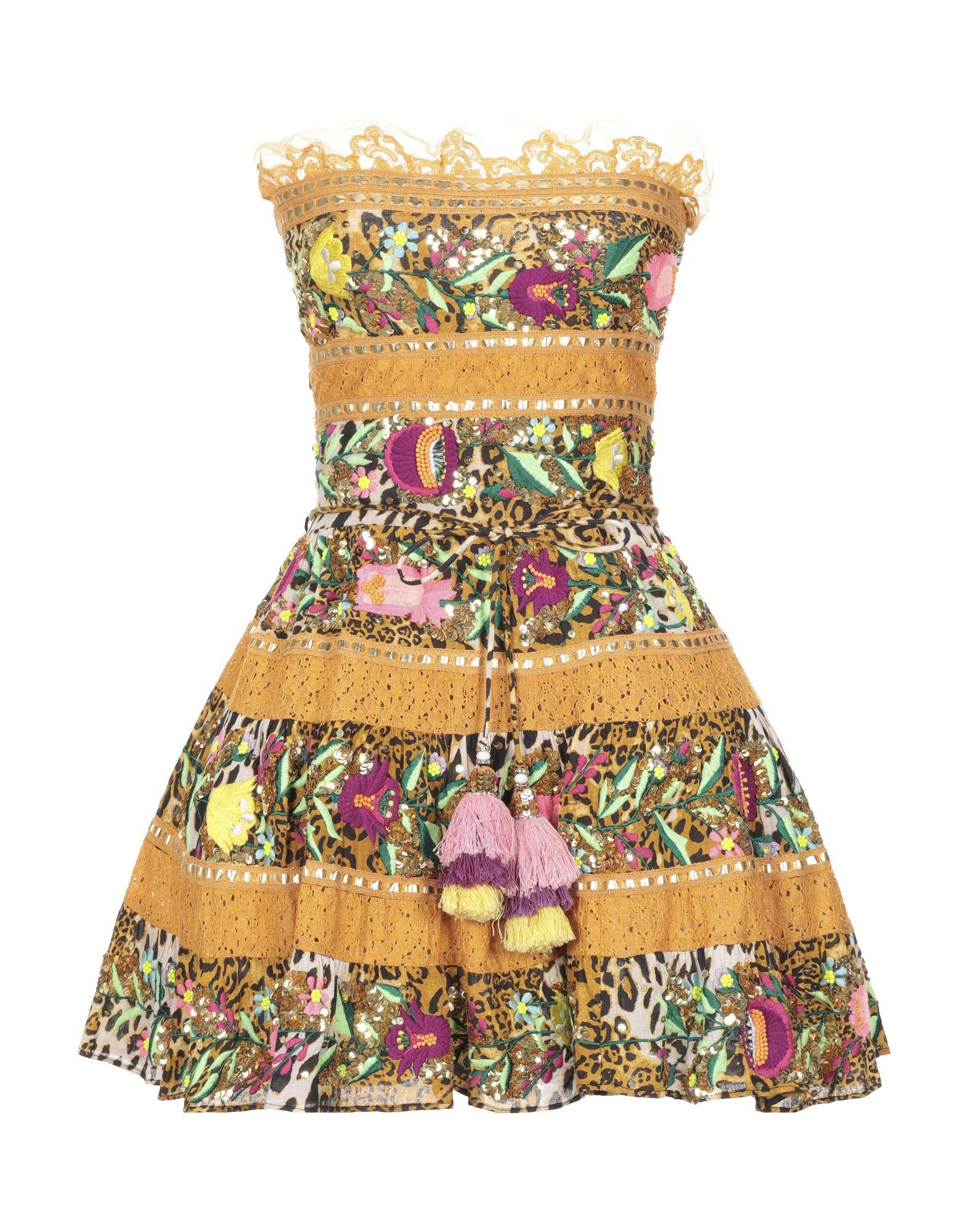 《セール開催中》LAS NOCHES IBIZA by ERIC & JACK レディース ミニワンピース&ドレス キャメル M コットン 100%