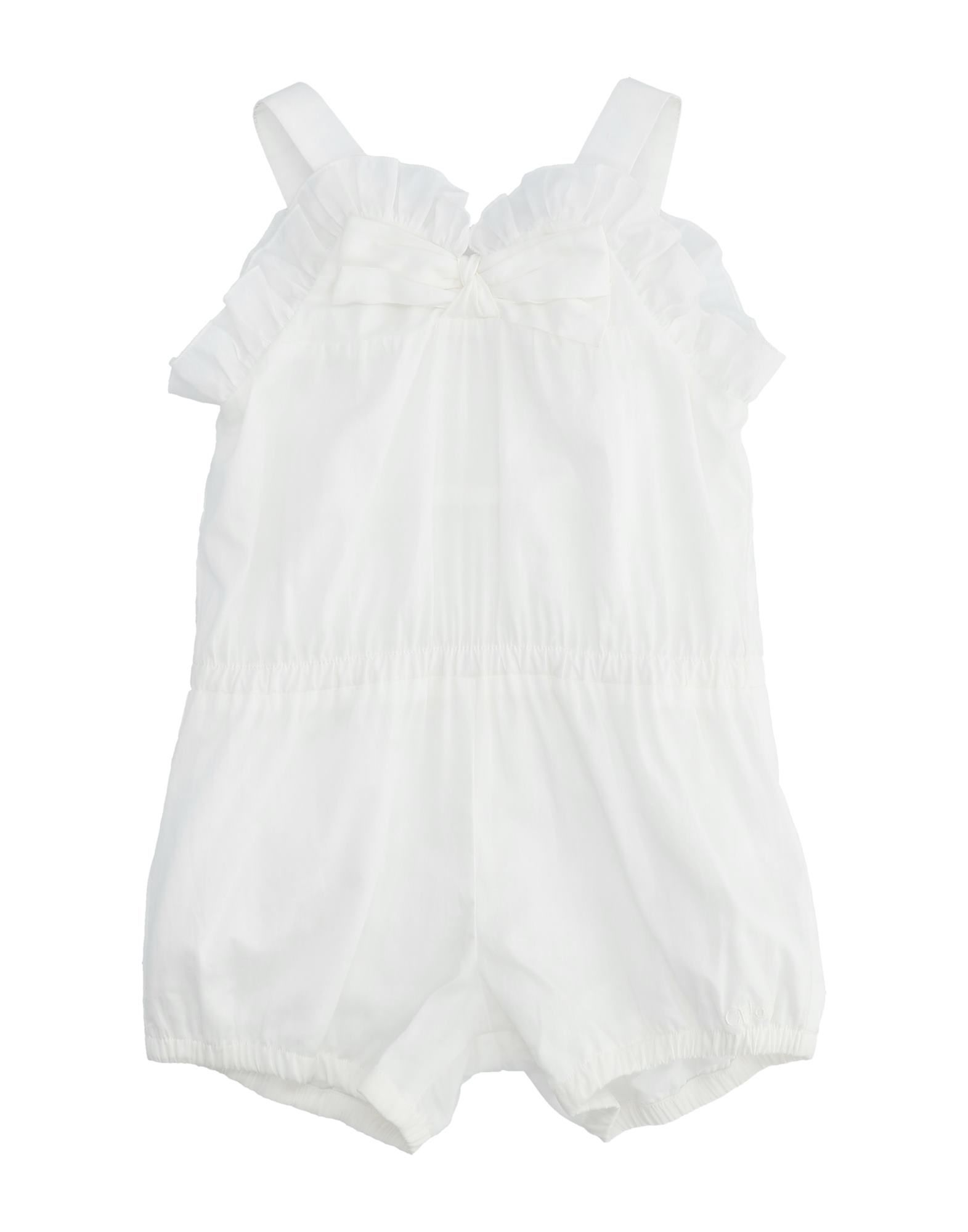 CHLOÉ Baby overalls. plain weave, bow-detailed, basic solid color, round collar, sleeveless, zipper closure, side closure, wash at 30degree c, dry cleanable, iron at 150degree c max, do not bleach, do not tumble dry. 100% Cotton