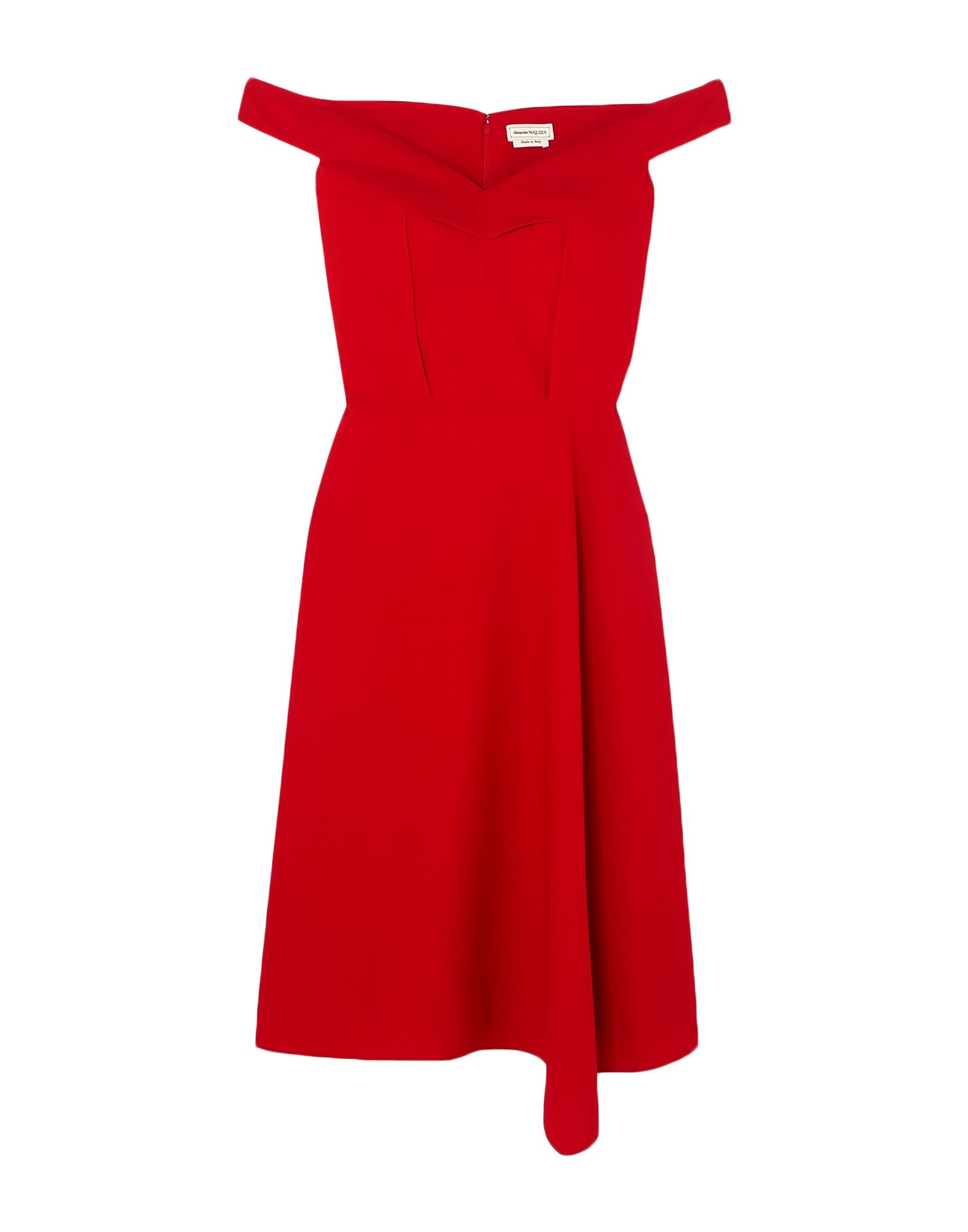 ALEXANDER MCQUEEN Short dresses. crepe, no appliqués, solid color, v-neck, sleeveless, no pockets, rear closure, fully lined. 96% Wool, 3% Polyamide, 1% Elastane