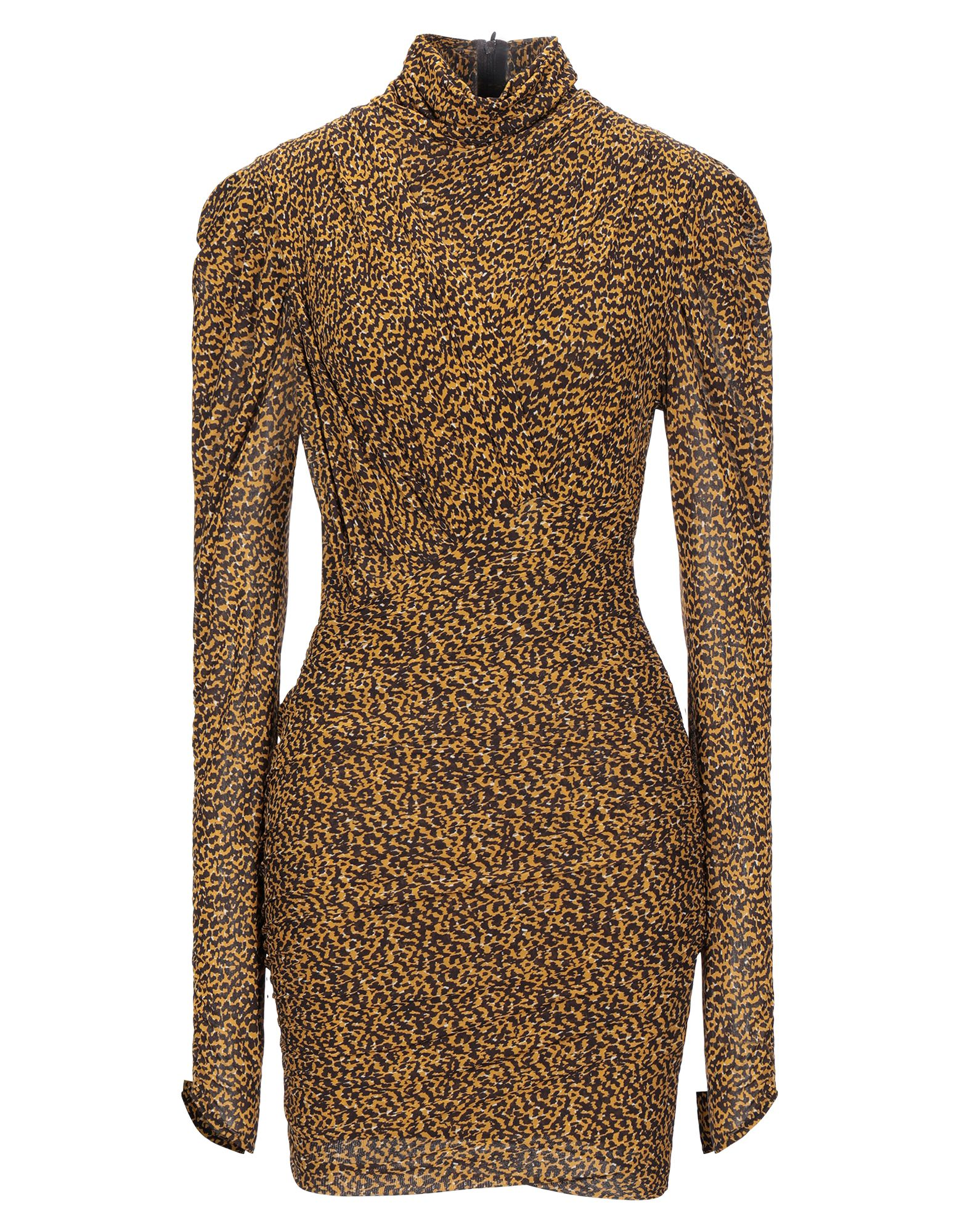 ISABEL MARANT Short dresses. crepe, draped detailing, two-tone, turtleneck, long sleeves, no pockets, rear closure, zipper closure, semi-lined, stretch. 92% Viscose, 8% Elastane
