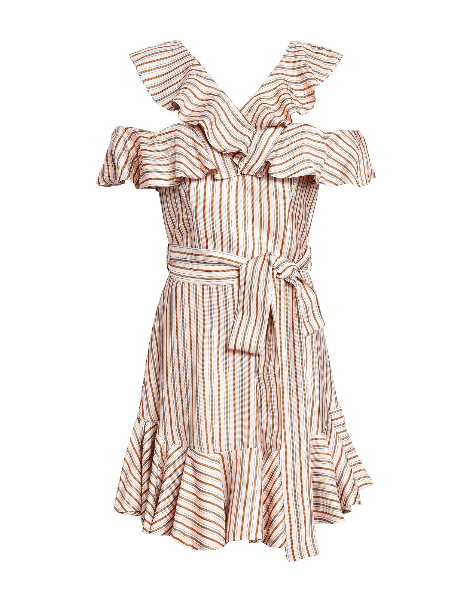 ZIMMERMANN Short dresses. jacquard, satin, belt, stripes, v-neck, short sleeves, no pockets, rear closure, hook-and-bar, zip, inside with stays. 65% Viscose, 35% Silk