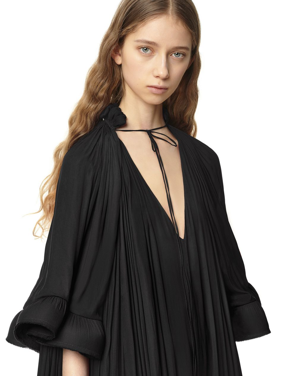 LONG SHORT-SLEEVED RUFFLE GOWN - Lanvin